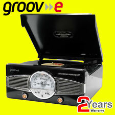 Groov-e BLACK Retro Vinyl Record Player Turntable FM Radio & Built-in Speakers