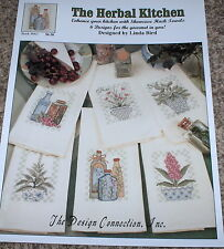 """""""Herbal Kitchen"""" Cross Stitch Patterns for Huck Towels - Olive Oil Chives Basil+"""