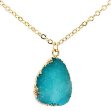 Lady Natural Druzy Quartz Clusters Geode Artificial Stone Pendant Necklace