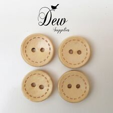 10 x 15mm Button Natural Unfinished Wood Buttons, wooden 2 hole Sew Scrapbooking