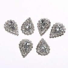 MT91B 6pcs x 26*19mm Pear Tear Drop Buttons Diamante Crystal Diamante Silver