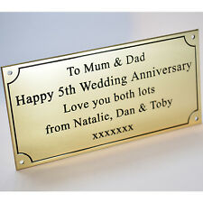 "Engraved Solid Polished Brass 6""x3"" Plaque Plate Sign Bench Memorial Pet +Screws"