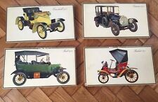 Set 4 old retro auto car model plaques signs Lancia Berliet Ford wall hanging