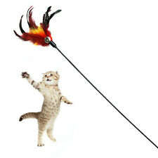 Funny Kitten Play Length Interactive Fun Toy Cat Teaser Wand Pet Feather w Bell