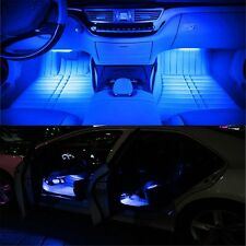 4Pack 9LED Blue Remote Car Interior Accessories Floor Decorative Light Strip