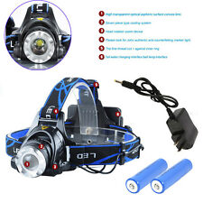 6000LM XML XM-L T6 LED Focus Headlight Head Lamp Zoomable + 2x 18650 + Charger