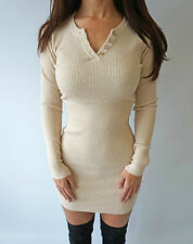 Boutique Cream Ribbed Button Bodycon Rare Knit Jumper Short Mini Dress 8 10 12