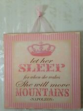 "Shabby PRINCESS Wall Decor Wood Wall Plaque Baby Nursery ""Let her Sleep"""