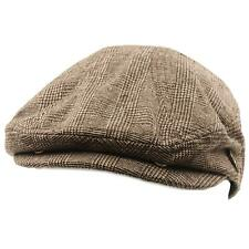 Men's Front Snap Wool Plaid Flat Golf Ivy Driving Cabby Cap Hat Brown L/XL 58cm