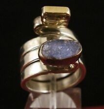 Lilly Barrack 925 Sterling Silver Tanzanite Ring with 14K Gold Bar