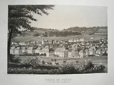 La Chaux de Fonds Neuchatel Neuenburg Schweiz  echter alter Stahlstich 1852