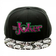 DC COMICS THE JOKER TEXT LOGO SUBLIMATED FACES BILL BLK SNAPBACK HAT CAP BATMAN