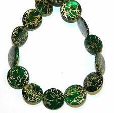 """MP2425t Green w Gold Drawbench Drizzle 20mm Round Mother of Pearl Shell Bead 15"""""""