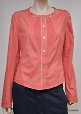 Nwt $298 Elie Tahari LUCY Stretch-Cotton Shirt Dress Blouse Top ~Coral *14/50