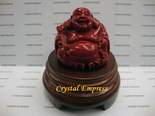 Feng Shui - Red Laughing Buddha With Ruyi On Wooden Stand