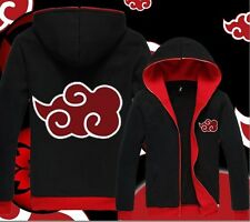 Anime NARUTO Akatsuki Casual Hooded Sweatshirt Hoodie Jacket Coat Black red