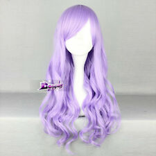 Light Purple Long Curly Stylish Women Lady Anime Cosplay Hair Wig With Wig Cap