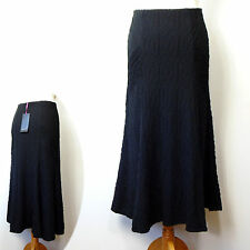 New PER UNA Flared Hem LONG Length STRETCH SKIRT ~ Size 10 ~ BLACK