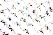 10pcs Rhinestone Silver Plated Rings wholesale lots Dolphin animal free shipping