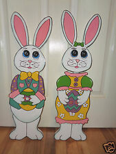 HAND MADE 2-PC. SET EASTER BUNNY RABBITS YARD  YARD ART DECORATION 12'' TALL
