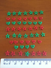 Tiny Sew thru Red Green stars hearts Christmas Novelty Buttons 1177 Dress It Up
