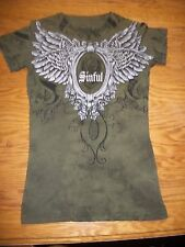 Sinful Short Sleeved Top Army Green Black Size S NWOT