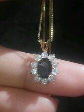 SALE!!! 14K SOLID YELOW GOLD NATURAL SAPPHIRE AND DIAMOND NECKLACE! Signed BH..!