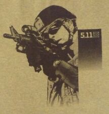 """VINTAGE XL GRAY """"5.11 SNIPER WITH ASSAULT WEAPON"""" 100% COTTON GRAPHIC T SHIRT"""