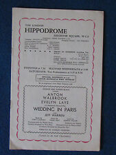 London Hippodrome Theatre Programme - 1954 - Wedding in Paris