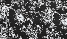 White Roses on Black Print Fabric Jersey Knit by the Yard Rayon Spandex Flower