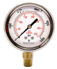"2-1/2"" Oil Filled Pressure Gauge - SS/Br 1/4"" NPT Lower Mount 5000PSI"
