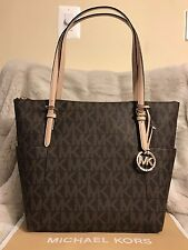 NWT MICHAEL KORS MK PVC SIGNATURE JET SET EW TOP ZIP TOTE BAG IN BROWN