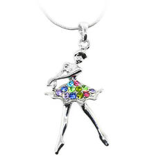 "Silver Color Ballerina Charm Pendant with Multi Color Crystals and 16"" Chain"