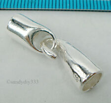 1x BRIGHT STERLING SILVER PLAIN LEATHER END CAP 5mm CORD with HOOK CLASP #1934