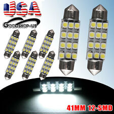 8X 6000K White Festoon Dome Map Interior LED Bulbs 42mm 41mm 12-SMD 211-2 212-2