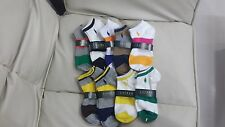 NEW Ralph Lauren Polo Multi Striped Ankle Socks 3 pair+Tag US Womens size 8.5-11