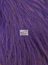 SOLID GRIZZLY SHAGGY FAKE FUR FABRIC - Purple - BY YARD COAT COSTUME SCARF RUG