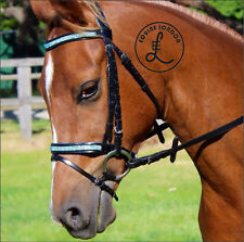 BLUE - Show horse Bridle-Crystal Browband -English Dressage saddle - COB