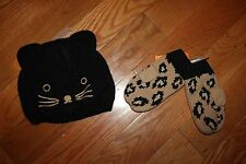 NWT Gymboree Right Meow Size 2T-3T Black Kitty Cat Hat Leopard Mittens