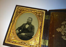 Antique Victorian Fashion Bearded Man Ambrotype Thermoplastic Union Photo Case!