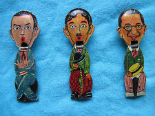 GROUP 3 TOY TIN WHISTLES DEPICTING BUSTER KEATON CHARLIE CHAPLIN HAROLD LLOYD