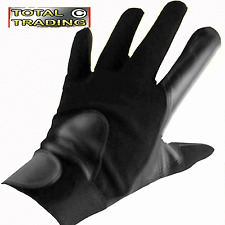 Mens KIDS TEEN  Black driving Leather Lycra Gloves fitted spandex