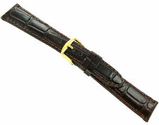 13mm T&C Wild Croco Grain Brown Genuine Leather Padded Stitched Watch Band Strap