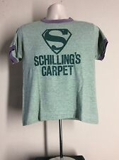 Vtg 80s Schilling's Carpet Rayon Tri-Blend Ringer T-Shirt Heather Green S/M