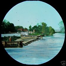 HAND COLOURED Glass Magic Lantern Slide RIVER THAMES NO19 C1890 PHOTO ENGLAND