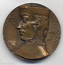 MEDAGLIA bronzo altorilievo SCARPABOLLA Venezia a Marco Polo 1954 700° anniv.