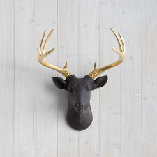 Wall Charmers Black Mini Deer + Gold Antler Faux Head Metallic Fake Animal Stag