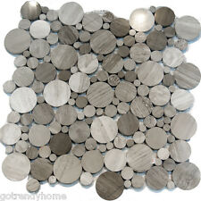 Sample-Random Circle Pattern Wooden Gray Marble Stone Mosaic Tile Backsplash Spa