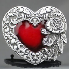 Victorian Silver & Red Heart Flower Leaf Brocade Cowboy Enamel Belt Buckle Wicca
