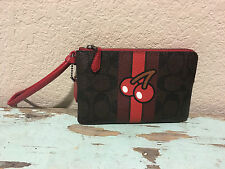 NWT COACH Pac-Man Khaki / Red PVC Corner Zip Wristlet *Limited Edition 56715